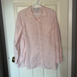 Old Navy Pink and White Top Size XL